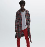 Wholesale Men S Belted Trench Coat - Fear Of God Jacket Men Women 1:1 High Quality Fear Of God Trench Coat Stripe Jacket