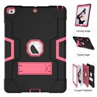 Wholesale wholesale printing ipad covers online - 3 in Kickstand Hybrid Silicone PC Cover Outdoor Shockproof Armor Case For Samsung Galaxy Tab A SM T595 SM T590 T590 T595 new