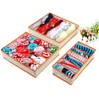 Wholesale blue woven bedding online - New Creative Folding Organizer Drawer Divider Container Bra Sock Boxes Piece A Set Non Woven Fabric Underwear Storage Box nr aa