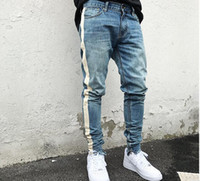 ingrosso disegni biker-kanye west black Jeans skinny Uomo Hip Hop stripe Strappato Jeans aderenti elasticizzati Jeans da uomo Biker di marca Denim Jogger Design