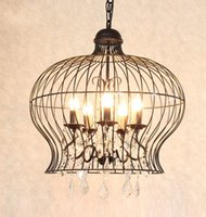 Wholesale shop bird for sale - Group buy American country crystal chandelier circular iron art clothing shop creative restaurant living room chandelier black bird cage candle lamp