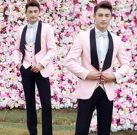 Wholesale formal dress coat for men - Pink blazer men formal dress latest coat pant designs marriage suit men homme terno masculino trouser wedding suits for men's