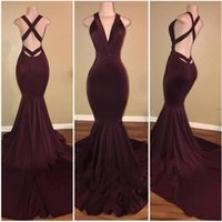 Wholesale High End Prom Gowns - 2018 New Sexy Burgundy Mermaid Prom Dresses Crisscross Back Evening Gowns Long Pageant Party Wear Cheap High-End Red Carpet Gowns