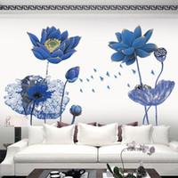 sticker d'autocollant mural achat en gros de-Affiche Vintage Bleu Lotus Fleur 3D Papier Peint Stickers Muraux Style Chinois Bricolage Creative Salon Chambre Décor À La Maison Art