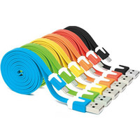 m teléfono móvil al por mayor-1 m para Android / iPhone cable de datos de fideos Color USB línea de datos fideos de teléfono móvil cable de carga