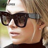 Wholesale Newest Designing Sunglasses - Newest 2018 Fashion Square Sunglasses Women Cat Eye Luxury Brand Design Big Black Sun Glasses Mirror Shades femme Oculos De Sol