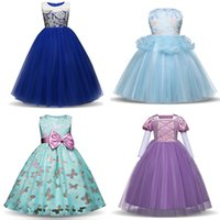 Wholesale Teenage Tutus - Girls Ball Gown Dresses 3D Lace Bow Butterfly Crystal Flora Embroidered Princess Teenage Kids Wedding Party Dress Performance Outfits 3-13T