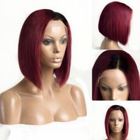 Wholesale bob red ombre wigs for sale - Tones Ombre Wine Red Short Bob b burgundy Glueless Lace Front Wigs Side Part inch Straight Medium Brown Lace Wig