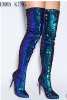 ingrosso stivali femminili blu-Moda autunno inverno Blu bling Boots Punta sexy a punta Donna Stivali con tacco alto Cerniera laterale Donna in stile cavaliere Taglia 43