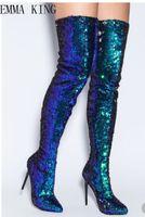 seksi kadın çizmeler moda toptan satış-Sonbahar Kış Moda Mavi Bling Boots Seksi Sivri Burun Bayanlar Yüksek Topuk Çizmeler Fermuar Yan Kadın Şövalye Tarzı Boyutu 43