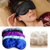 göz kamaştırıcı göz maskesi toptan satış-1 ADET Yeni Saf Ipek Uyku Göz Maskesi Yastıklı Gölge Kapak Seyahat Yardım Körü Körüne Shades Yardımcı 6 Renkler