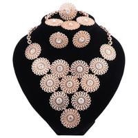 conjuntos de jóias colar de pulseira venda por atacado-Moda Hot Contas Africanas Conjuntos de Jóias para As Mulheres da Cor do Ouro Colar de Casamento Brincos Pulseira Anel de Jóias