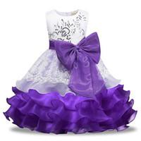 ingrosso abbigliamento dimensioni 6t-New Petal Size 3-8 Festa di compleanno Vestiti da ragazza Abiti da battesimo Abiti da damigella di Tulle Princess Abiti da damigella d'onore