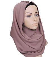 bufanda de perlas musulmanes al por mayor-Monochrome ethnic pearl chiffon bubble toalla diadema alta calidad mujeres musulmanas hijab Bufandas