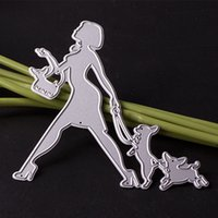 Wholesale Cute Lovely Photos - Lovely Lady with Cute Puppy Metal Cutting Dies for DIY Scrapbooking Photo Album Paper Card Creation Small Gift Decoration