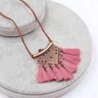 ethnische halskette legierung großhandel-Bohemian 9 Farben Samt Legierung Quaste Halsketten Anhänger für Frauen Multi-Color Quaste Ethnische Vintage Halskette Großhandel