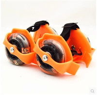 Wholesale kid shoes wheels online - SPORTSHUB Children Toy Scooter Kids Sporting Pulley Lighted Fun Flashing Roller Wheels Heel Skate Rollers Shoe cs WW