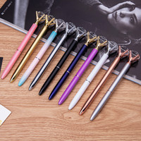 Wholesale metal ballpen online - 2018 Crystal Ballpoint Pens Ballpen Fashion multi colors Large Diamond Ballpoint Pens School Stationery Office writing Supplies