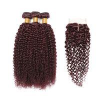 peru bakire burgonya toptan satış-99J Perulu Saç Demetleri Örgüleri Kapatma 100% Virgin İnsan Saç Bordo Kırmızı Gaga Kraliçe 3 Demetleri ile Dantel Kapatma toptan saç