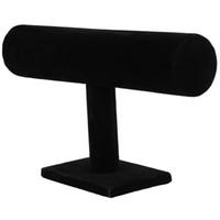 bilezik tutacakları toptan satış-Standı Bilezik Zinciri Bileklik İzle T-bar Raf Tutucu Ekran Takı Siyah