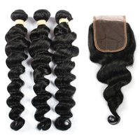 Wholesale Pure Hair Colour - Doheroine Human Hair 3 Bundles With Closure Bazilian Loose Wave Bundles With Closure Hair Extension Natural Colour Can Be Dyed Free Shipping