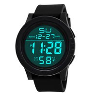 новые конструкции часов оптовых-Black Men Digital Wrist Watch Silicone Led Sport Watches Electronic Man Fashion Business Clock 2018 New Design Masculino Reloje