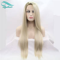 Wholesale Long Ombre Hair - Bythair Heat Resistant Hair Ombre Blonde Synthetic Lace Front Wig For Women Side Part Long Silky Straight Lace Wig Half Hand Tied