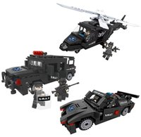 Wholesale toys for children trucks for sale - 3pcs Hsanhe Helicopter Truck Armored Car SWAT Police With Weapon Series Building Block Brick Educational Toys For Children Gifts