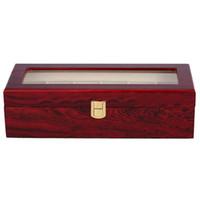 caixa de exibição de relógio de vidro venda por atacado-6 Relógio De Madeira Caixa de Caso de Exibição De Vidro Top Jóias Organizador De Armazenamento De Presente Homens
