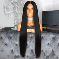 brezilya perukları doğal kısmı toptan satış-13X6 Derin Bölüm Dantel Ön Peruk Doğal Renk Düz Tam dantel İnsan Saç Peruk Siyah Kadınlar Için Brezilyalı Remy Frontal Peruk Ön Koparıp