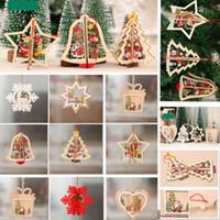 glockenpunkte groihandel-Weihnachten Holzschmuck fünfzackigen Stern Geschnitzte Weihnachtsbaum Fenster Ornamente Anhänger Für Bell Schneeflocke Schneemann Elch HH7-1787