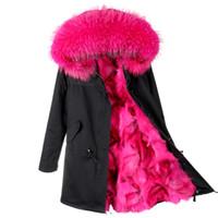 Wholesale grey fox fur coats - 2017 new fashion women luxurious Large raccoon fur collar hooded coat warm Fox fur liner parkas long winter jacket top quality