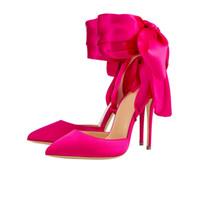 zapatos de vestir de satén negro al por mayor-Bombas de punta puntiaguda de gran tamaño, pajarita de satén, fondo rojo, zapatos de vestir de banquete de tacones altos de 12 cm, fucsia negro
