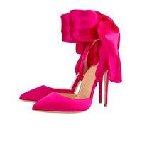 sapatos de tamanho grande stilettos venda por atacado-Tamanho grande apontado toe bombas cetim moda bowtie fundo vermelho 12 cm de salto alto banquete vestido sapatos preto fúcsia