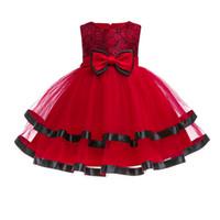 vestido de fiesta rojo infantil al por mayor-2018 Kids Tutu Birthday Princess Party Dress for Girls Infantil 1 año fiesta de cumpleaños Vestidos Red Christmas clothes ropa de bebé