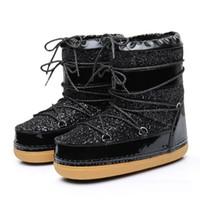 ingrosso scarpe da combattimento in vernice nera-Stivali da neve stringati neri Stivali spaziali Stivali da donna impermeabili alla moda
