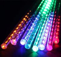 Wholesale rain lights led strip resale online - Led Set Snowfall LED Strip Light Christmas lights Rain Tube Meteor Shower Rain LED Light Tubes V EU US Plug