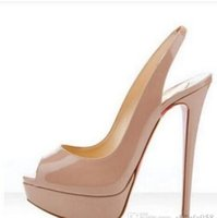 Wholesale pearl shoes peep toe wedding - Luxury Brand Nude Color Fish Mouth 14cm lRed Bottom High Heels ,Women Black Patent Leather Platform Peep-toes Sandals ,Shiny Leather Shoes