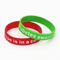 grünes bewusstseinsarmband großhandel-1PC Diabetes Awareness Armbänder Medical Alarm Silikon Armband Hoffnung ist in einer Heilung Armband Rot Grün Krankenschwester Armreifen Geschenke SH112