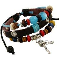 ingrosso canali di perline-Giorno Ornamenti popolari Pelle String Of Beads Bracciale Trans Channel Cross Border E-commerce gotico