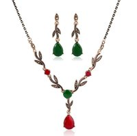 Wholesale suits chain accessories resale online - Retro jewelry suit diamond necklace earring set gem pendant collarbone chain bride adorn article women accessories gift free ship