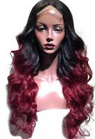 bakire saç danteli iki ton toptan satış-İki Ton Ombre Bordo Tam Dantel İnsan Saç Peruk T1b 99j Gevşek Dalgalı Perulu Bakire Saç Şarap Kırmızı 150% Yoğunluk Dantel Ön Peruk
