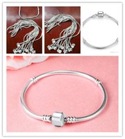 Wholesale Basic Women - Silver Plated Bracelet fit Women For Pandora Snake chain Basic Bracelets Bangles Charm Bead DIY Jewelry With Without Logo
