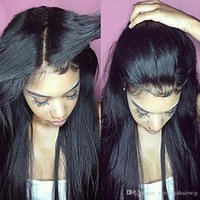Wholesale virgin human hair wigs sale for sale - Hot Sale Virgin Density Long Silky Straight Wigs With Baby Hair Glueless Human Hair Lace Front Wigs for Black Women