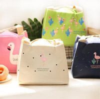 Wholesale heated lunch box - Flamingo heat preservation lunch box bag, lunch bag handbag waterproof thermal insulation bag thickened lunch bag I322