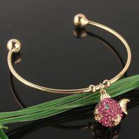 pulseras de oro de 14k con brazalete al por mayor-Nueva 14k Gold Filled cristal austriaco rosa pescado pulsera brazalete CB0969