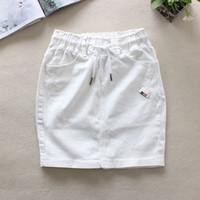 über taille jeans großhandel-2018 Sommer weiße Jeans Röcke Frauen elastische Taille zurück Split Bleistift Röcke Baumwolle natürliche Taille über Knie Denim 9323