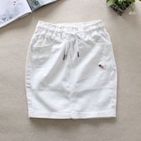jeans au dessus de la taille achat en gros de-2018 été blanc jeans jupes femmes taille élastique dos fendu crayon jupes coton taille naturelle au-dessus du genou denim 9323