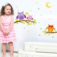 Wholesale nursery bedroom furniture - Lovely 3d wall sticker owl kids bedroom nursery wall decals baby room decorations removable living room furniture stikers