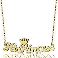 colares do presente do dia de mães venda por atacado-Nome personalizado Colar Personalizado Princesa Coroa Nome Placa Colar de Jóias Diário Presente para Dia Dos Namorados Presente de Dia Das Mães
